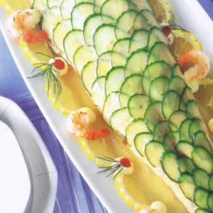Poached salmon platter