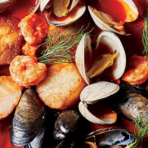 Close-up of Italian fish soup.