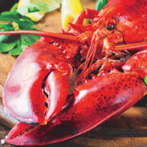 Fresh lobster displayed on a wooden platter with lemon wedges and herbs.